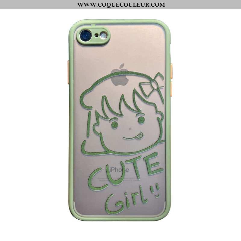 Coque iPhone 7 Transparent Charmant Amoureux, Housse iPhone 7 Dessin Animé Simple Verte