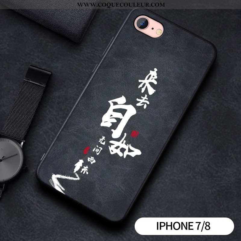 Housse iPhone 7 Gaufrage Protection Téléphone Portable, Étui iPhone 7 Tendance Noir