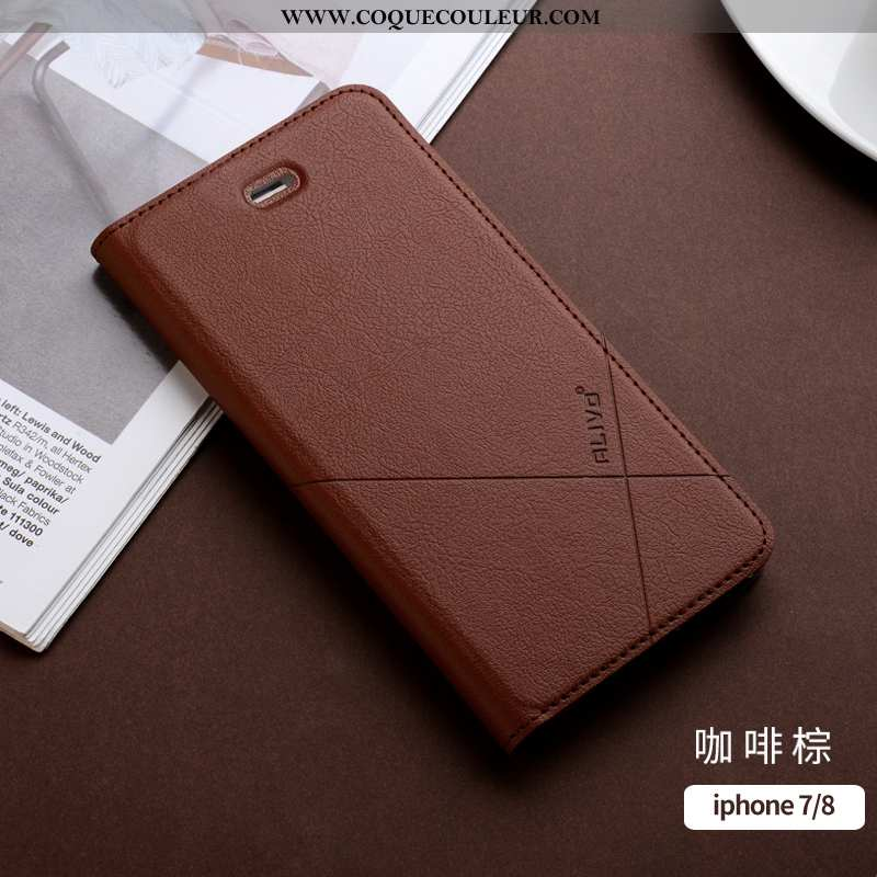 Housse iPhone 7 Cuir Protection Ultra, Étui iPhone 7 Fluide Doux Silicone Orange