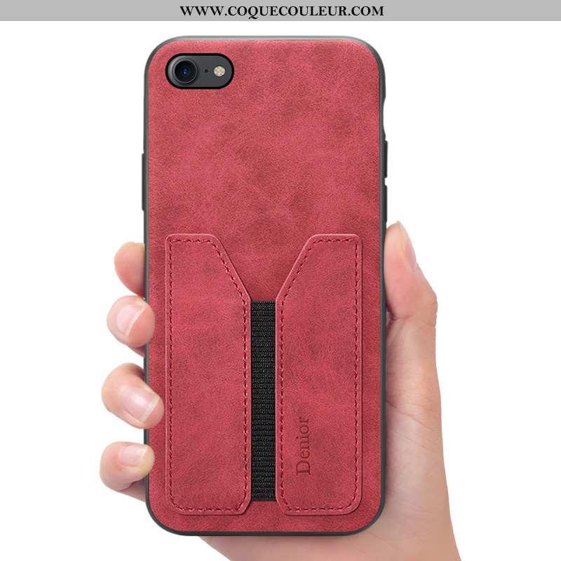 Coque iPhone 7 Portefeuille Téléphone Portable Étui, Housse iPhone 7 Cuir Rouge