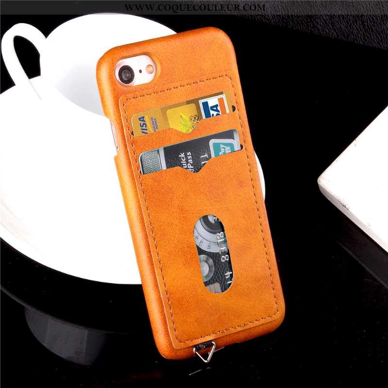 Coque iPhone 7 Cuir Incassable Téléphone Portable, Housse iPhone 7 Protection Étui Orange