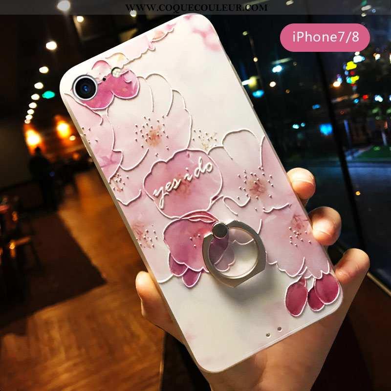 Étui iPhone 7 Ornements Suspendus Art Gaufrage, Coque iPhone 7 Personnalité Téléphone Portable Rose