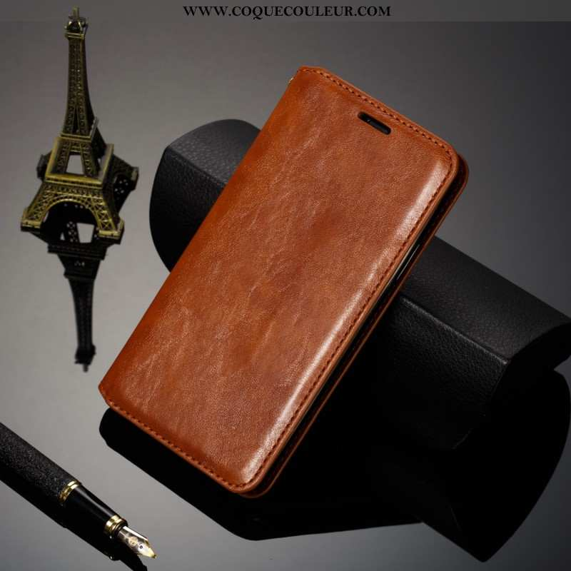 Housse iPhone 7 Cuir Véritable Coque Tout Compris, Étui iPhone 7 Cuir Téléphone Portable Marron
