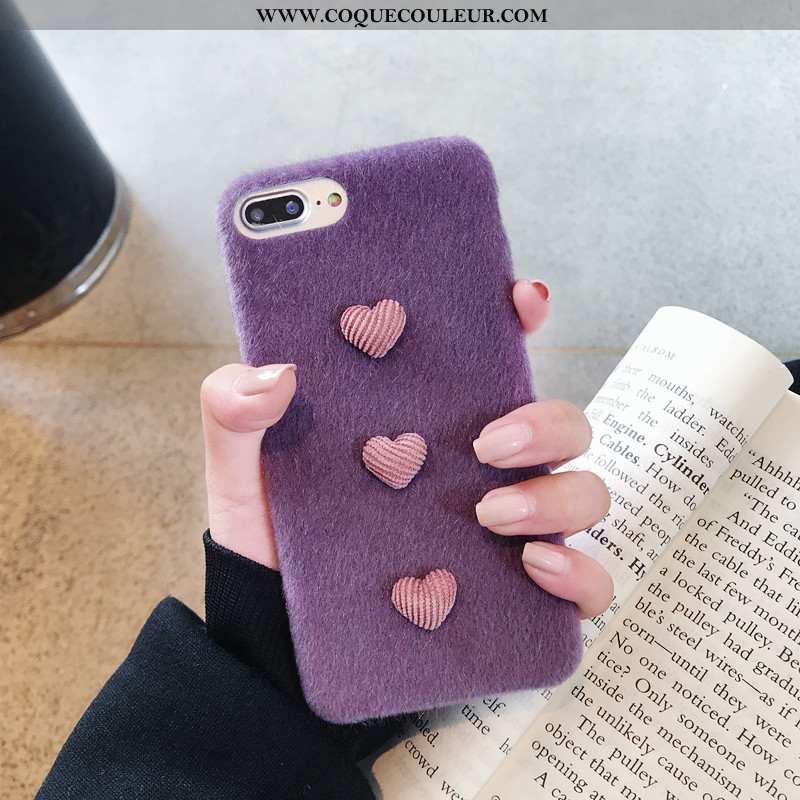 Housse iPhone 8 Plus Fluide Doux Peluche Amour, Étui iPhone 8 Plus Silicone Légère Violet