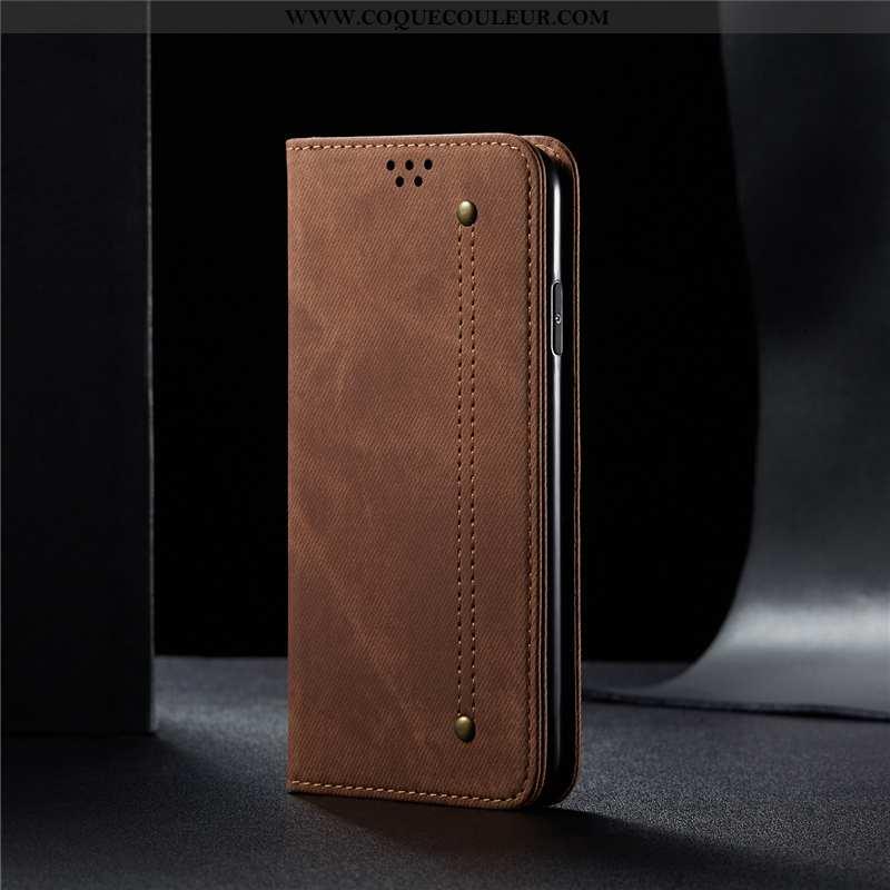 Coque iPhone 8 Plus Cuir Bovins Téléphone Portable, Housse iPhone 8 Plus Modèle Fleurie Étui Marron