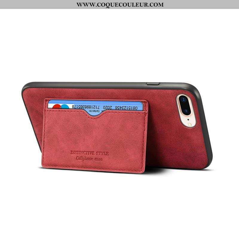Coque iPhone 8 Plus Cuir Simple Support, Housse iPhone 8 Plus Délavé En Daim Rouge