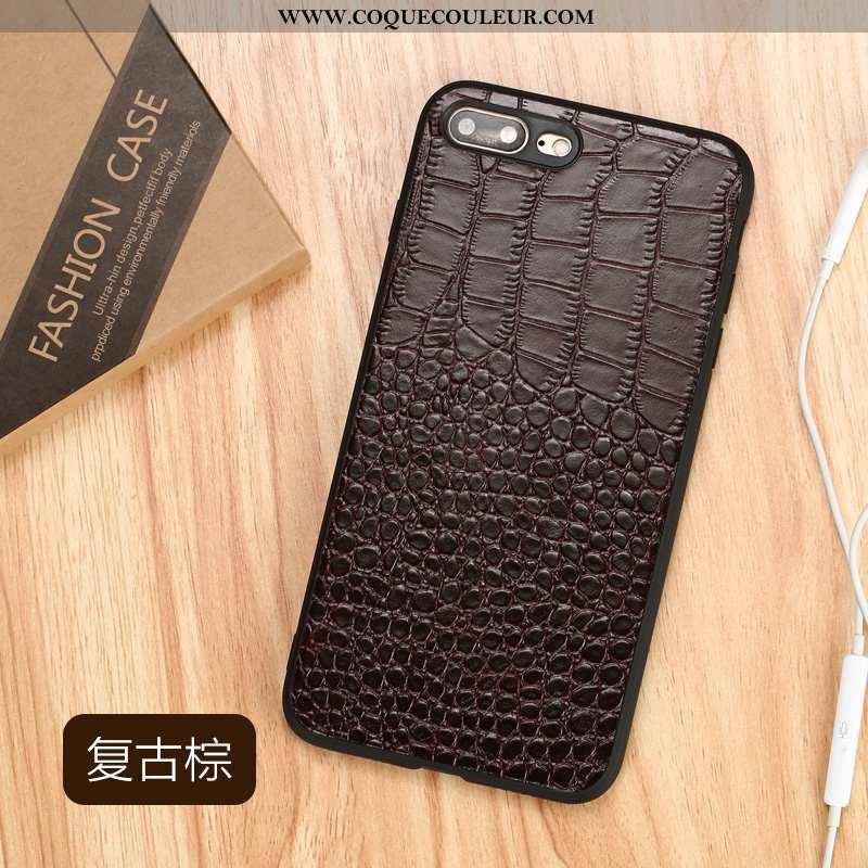 Housse iPhone 8 Plus Tendance Coque Luxe, Étui iPhone 8 Plus Cuir Marron