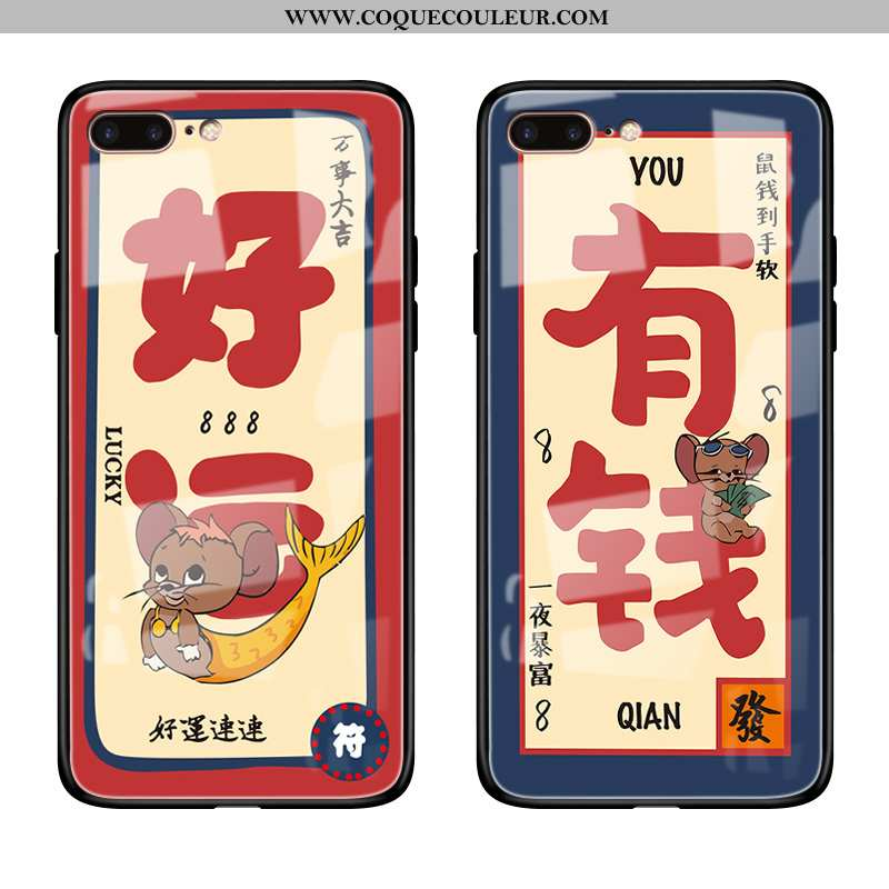 Housse iPhone 8 Plus Silicone Amoureux Rat, Étui iPhone 8 Plus Verre Tout Compris Rouge