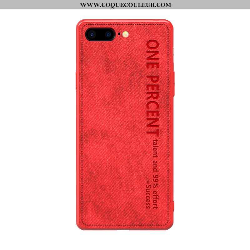 Coque iPhone 8 Plus Tendance Tissu Vintage, Housse iPhone 8 Plus Légère Rouge