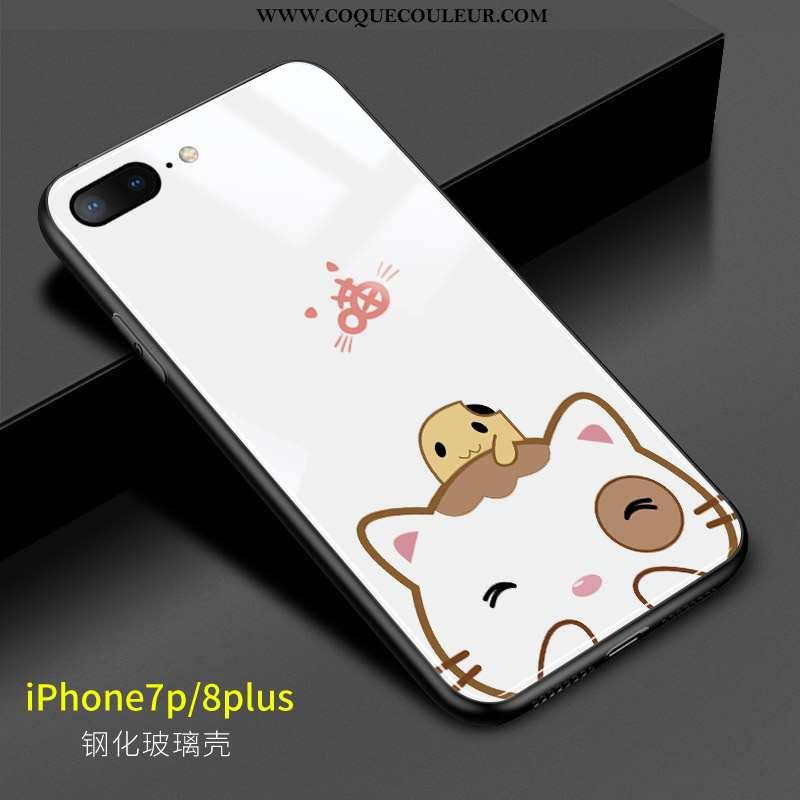Coque iPhone 8 Plus Charmant Blanc Frais, Housse iPhone 8 Plus Verre Blanche