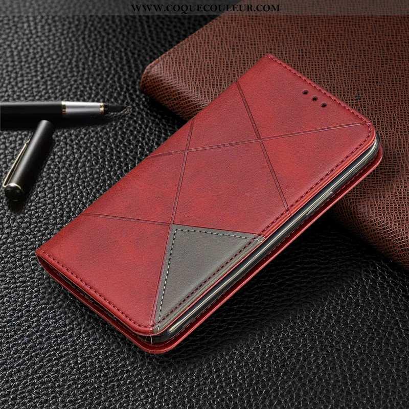 Étui iPhone 8 Plus Portefeuille Protection Tout Compris, Coque iPhone 8 Plus Cuir Rouge