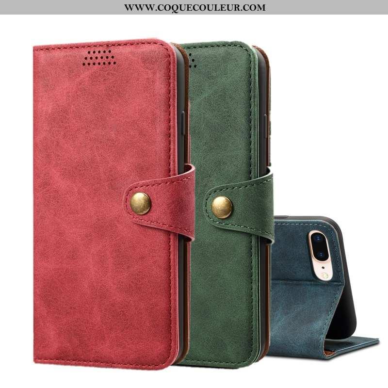 Étui iPhone 8 Plus Fluide Doux Rouge Cuir, Coque iPhone 8 Plus Protection Housse