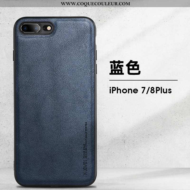 Étui iPhone 8 Plus Vintage Tendance Luxe, Coque iPhone 8 Plus Ultra Téléphone Portable Bleu