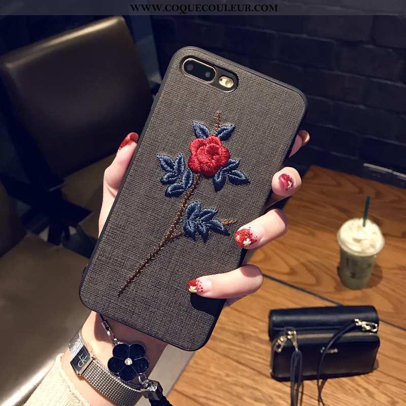 Étui iPhone 8 Plus Fluide Doux Personnalité Fleur, Coque iPhone 8 Plus Broderie Noir