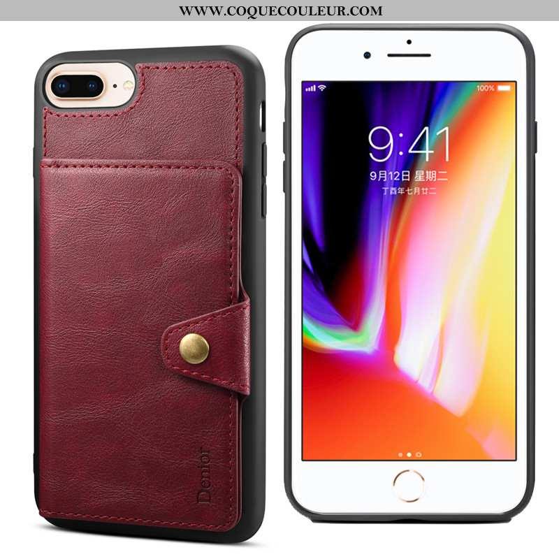 Étui iPhone 8 Plus Fluide Doux Carte Coque, Coque iPhone 8 Plus Protection Support Rouge