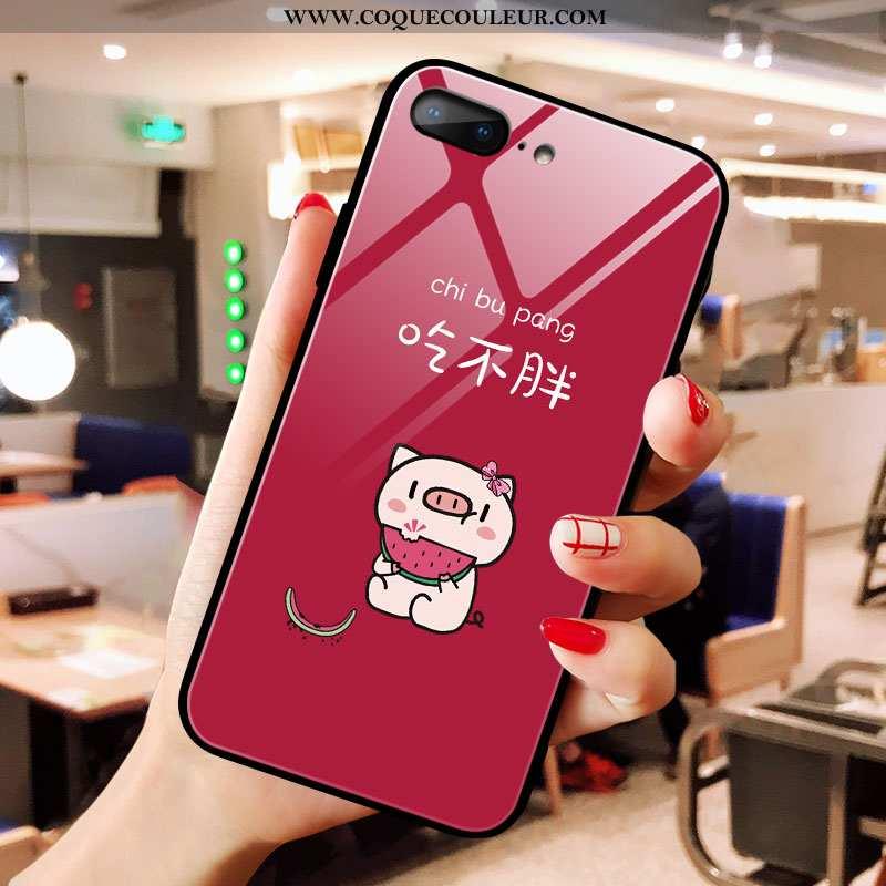 Housse iPhone 8 Plus Verre Téléphone Portable Net Rouge, Étui iPhone 8 Plus Dessin Animé Tendance Ro