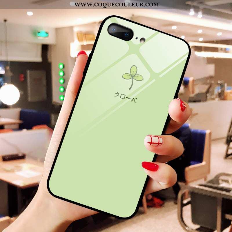 Housse iPhone 8 Plus Verre Vert Fraise, Étui iPhone 8 Plus Dessin Animé Petit Verte