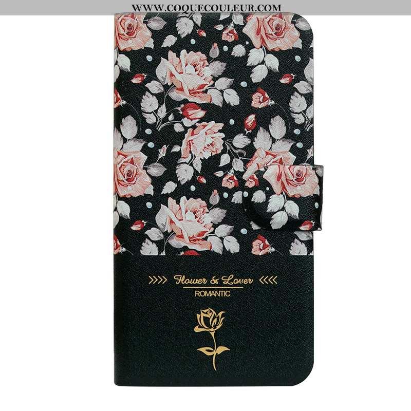 Étui iPhone 8 Plus Silicone Simple Fleur, Coque iPhone 8 Plus Protection Créatif Noir