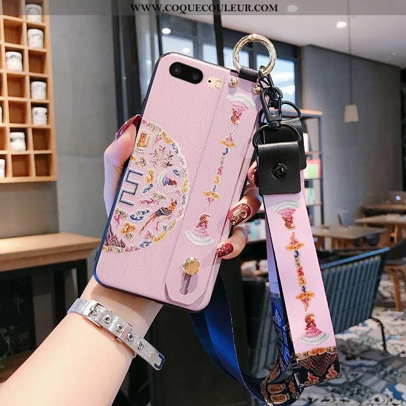 Coque iPhone 8 Plus Gaufrage Vent Vintage, Housse iPhone 8 Plus Cou Suspendu Luxe Rose