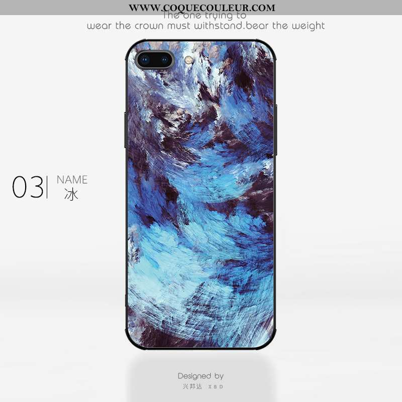 Housse iPhone 8 Plus Personnalité Tendance Coque, Étui iPhone 8 Plus Créatif Tout Compris Bleu