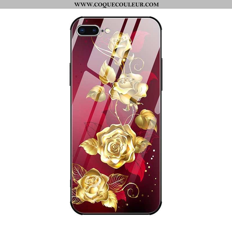Étui iPhone 8 Plus Verre Célébrité Mode, Coque iPhone 8 Plus Personnalité Téléphone Portable Rouge