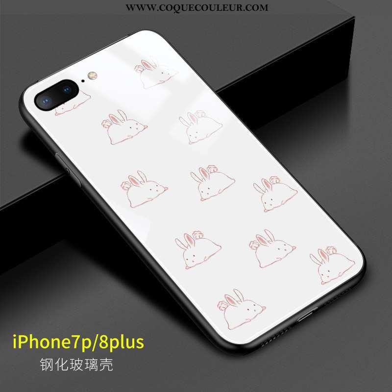 Housse iPhone 8 Plus Dessin Animé Rose Silicone, Étui iPhone 8 Plus Charmant Verre Blanche