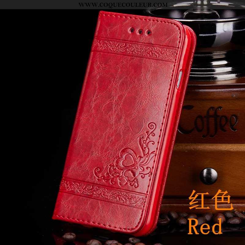Housse iPhone 8 Plus Portefeuille Téléphone Portable Luxe, Étui iPhone 8 Plus Cuir Luxe Rouge