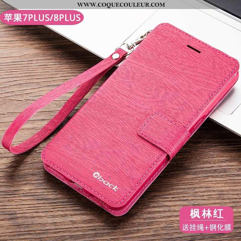 Coque iPhone 8 Plus Protection Housse, Housse iPhone 8 Plus Cuir Téléphone Portable Rose