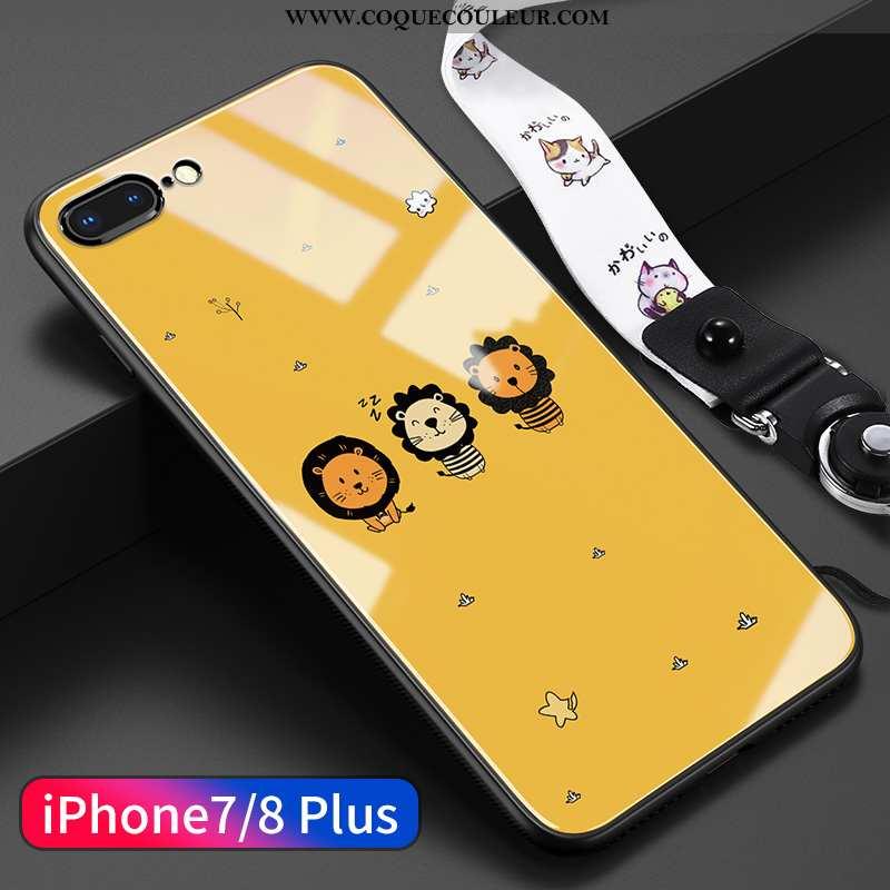 Housse iPhone 8 Plus Dessin Animé Légère Net Rouge, Étui iPhone 8 Plus Charmant Jaune