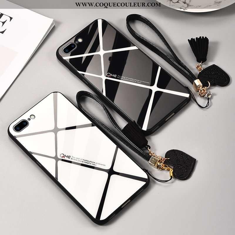 Housse iPhone 8 Plus Verre Simple Téléphone Portable, Étui iPhone 8 Plus Personnalité Tendance Noir