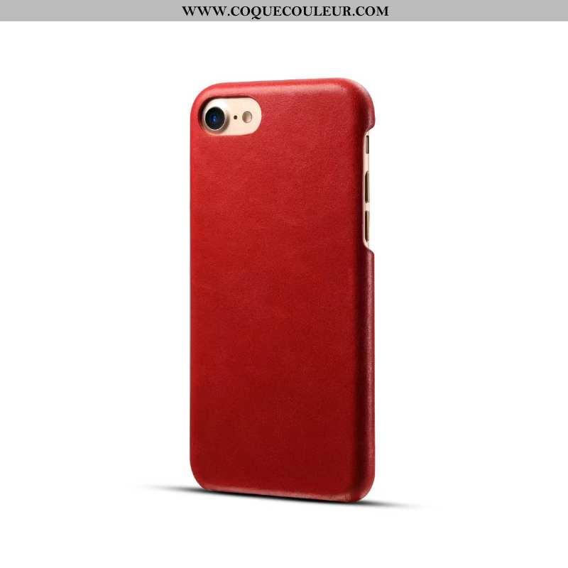 Coque iPhone 8 Cuir Véritable Business Nouveau, Housse iPhone 8 Cuir Étui Rouge
