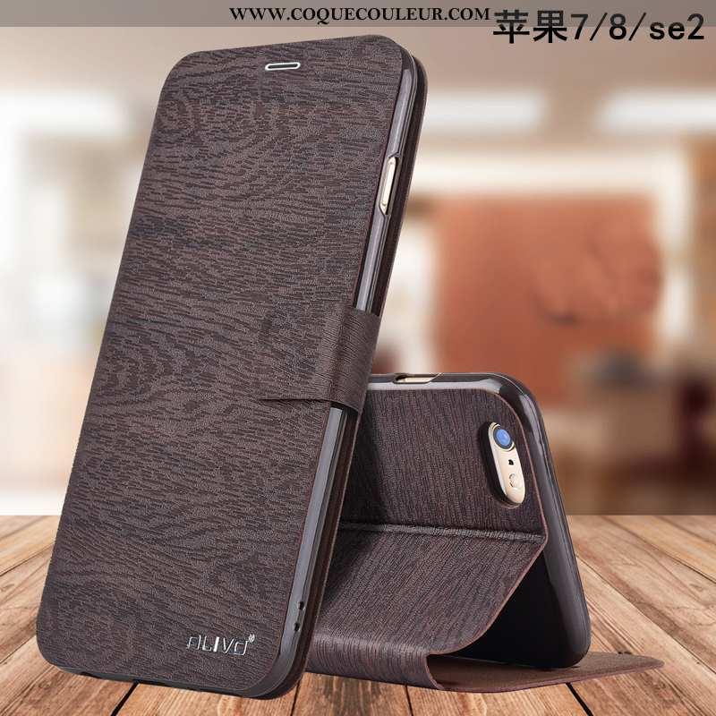 Coque iPhone 8 Fluide Doux Téléphone Portable Business, Housse iPhone 8 Silicone Étui Marron