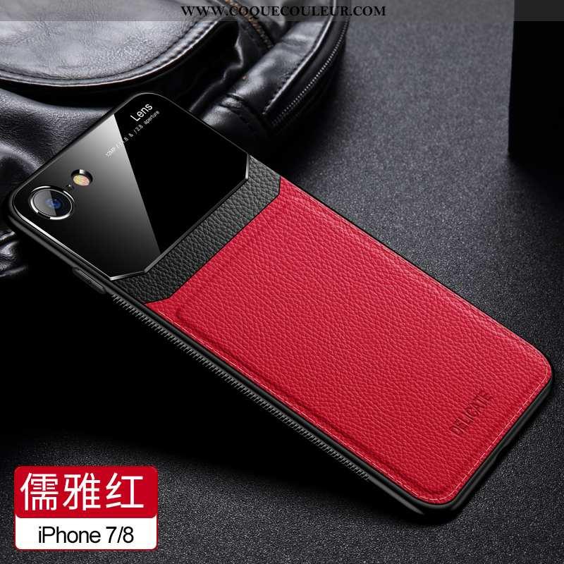 Coque iPhone 8 Tendance Modèle Fleurie, Housse iPhone 8 Cuir Téléphone Portable Rouge