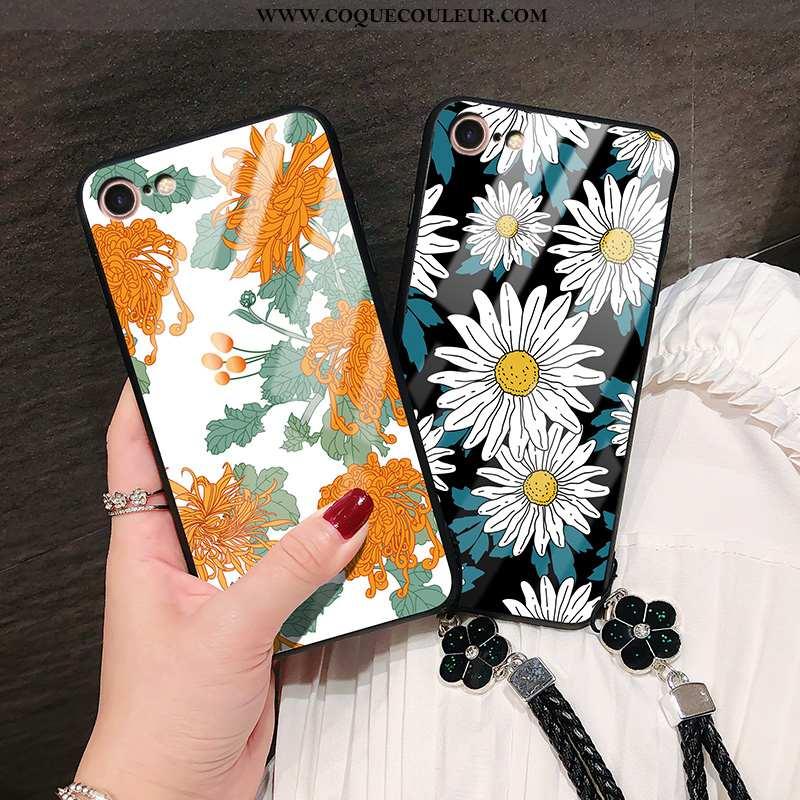 Coque iPhone 8 Mode Tendance Orange, Housse iPhone 8 Verre Téléphone Portable Orange