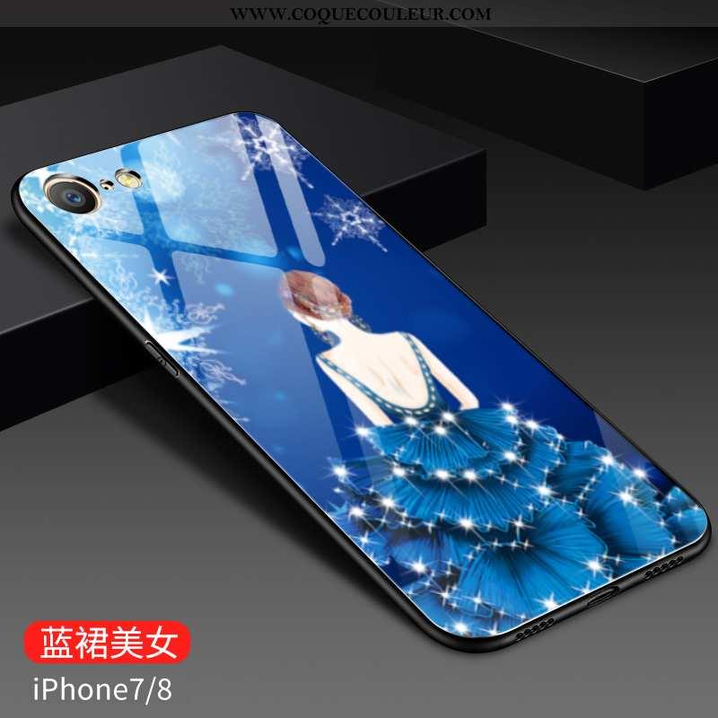 Housse iPhone 8 Tendance Bleu Tout Compris, Étui iPhone 8 Fluide Doux Peinture