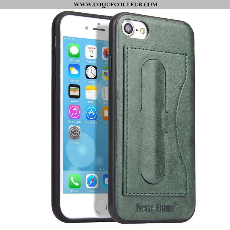 Coque iPhone 8 Protection Carte Simple, Housse iPhone 8 Cuir Vert Verte
