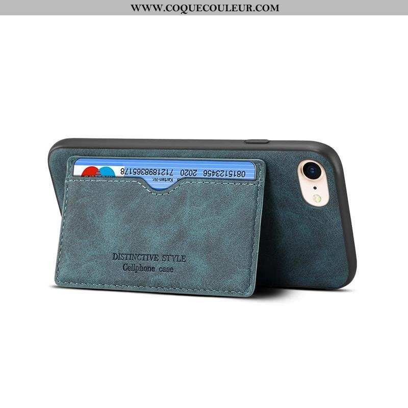 Étui iPhone 8 Délavé En Daim Vert Téléphone Portable, Coque iPhone 8 Cuir Incassable Verte
