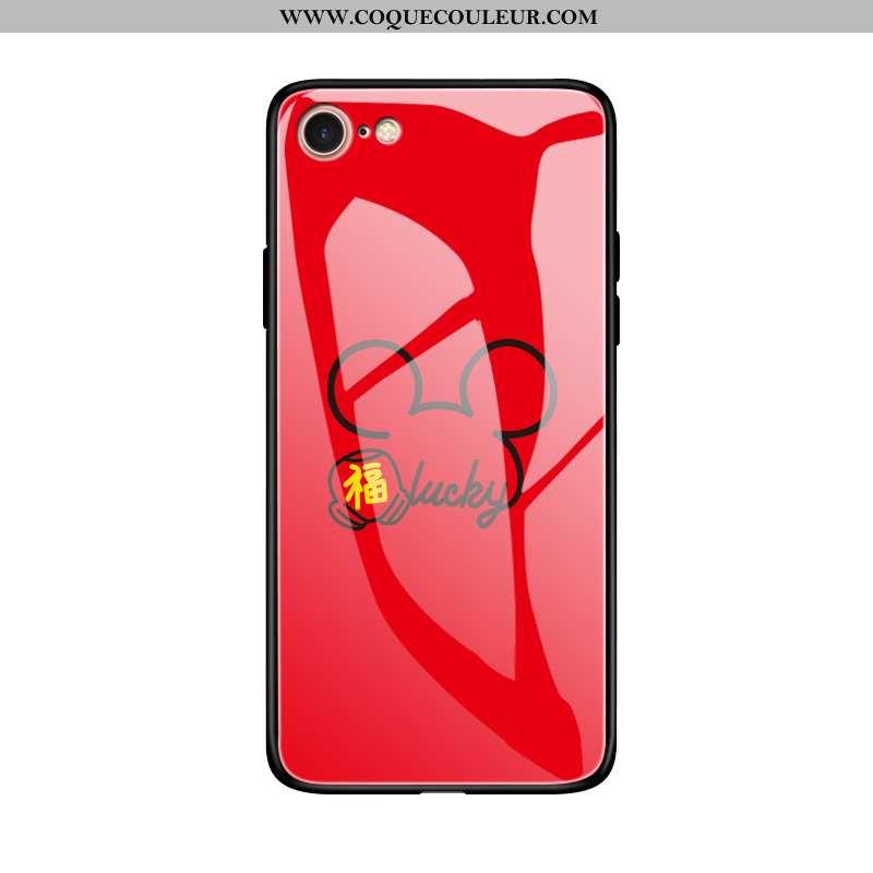 Housse iPhone 8 Silicone Verre Net Rouge, Étui iPhone 8 Protection Fluide Doux Rouge
