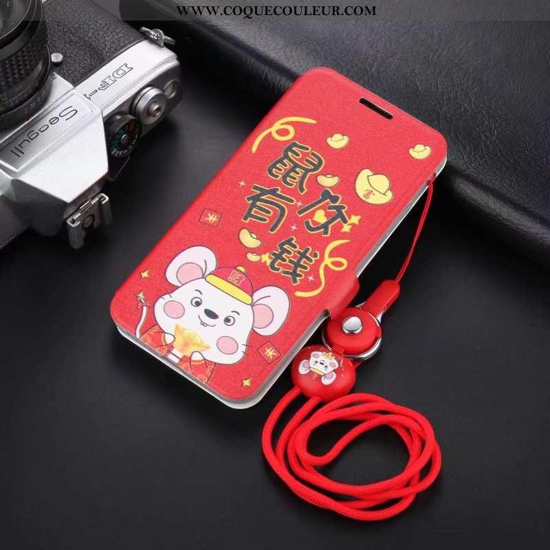 Coque iPhone 8 Légère Fluide Doux Délavé En Daim, Housse iPhone 8 Cuir Protection Rouge