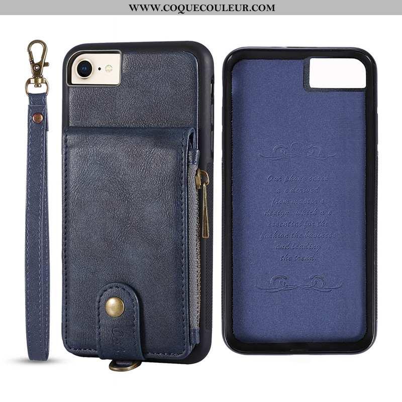 Coque iPhone 8 Portefeuille Bovins Coque, Housse iPhone 8 Cuir Carte Bleu Foncé