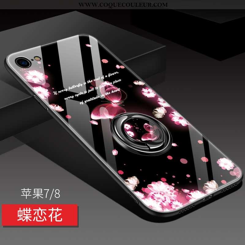 Housse iPhone 8 Fluide Doux Tout Compris Support, Étui iPhone 8 Silicone Miroir Rose