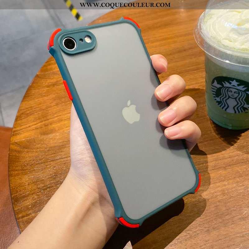 Coque iPhone Se (nouveau) Silicone Bordure Transparent, Housse iPhone Se (nouveau) Protection Bleu
