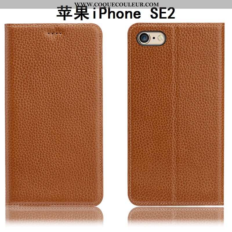 Étui iPhone Se (nouveau) Cuir Véritable Téléphone Portable Housse, Coque iPhone Se (nouveau) Protect