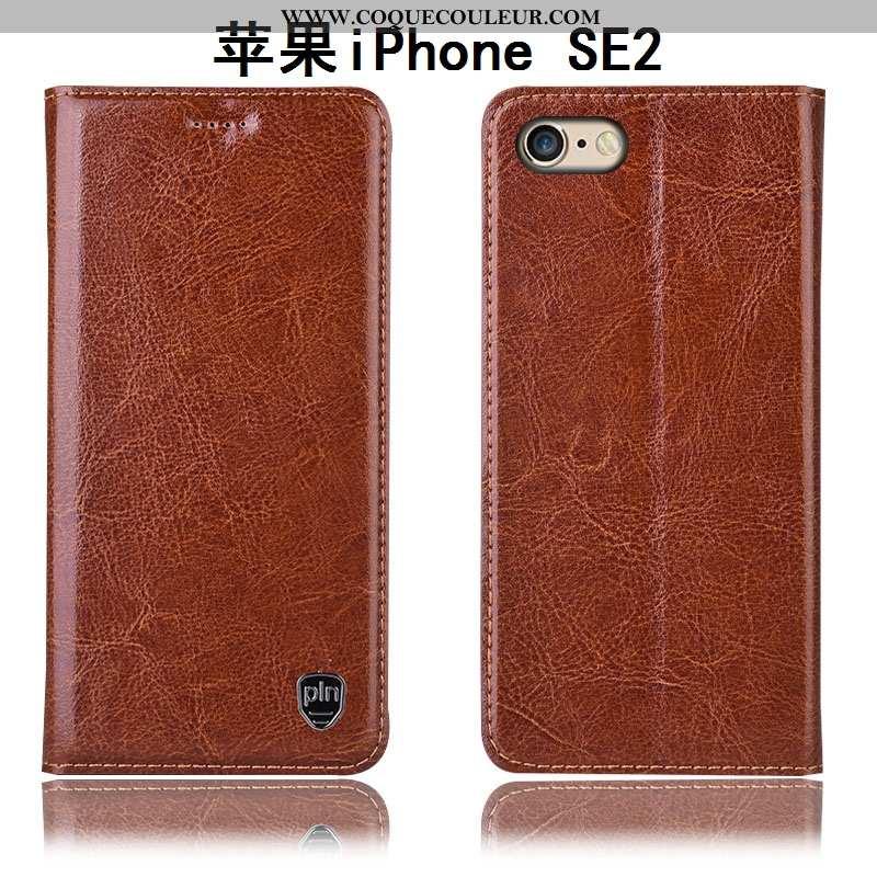 Étui iPhone Se (nouveau) Cuir Véritable Tout Compris Protection, Coque iPhone Se (nouveau) Modèle Fl