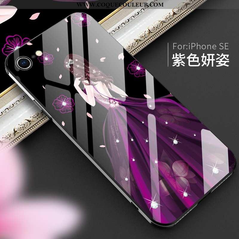 Étui iPhone Se (nouveau) Légère Miroir Luxe, Coque iPhone Se (nouveau) Mode Verre Violet