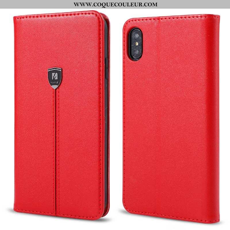 Housse iPhone X Cuir Téléphone Portable Étui, Étui iPhone X Fluide Doux Tout Compris Rouge
