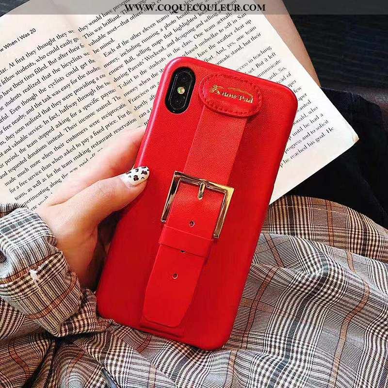 Étui iPhone X Créatif Cuir Incassable, Coque iPhone X Tendance Rouge