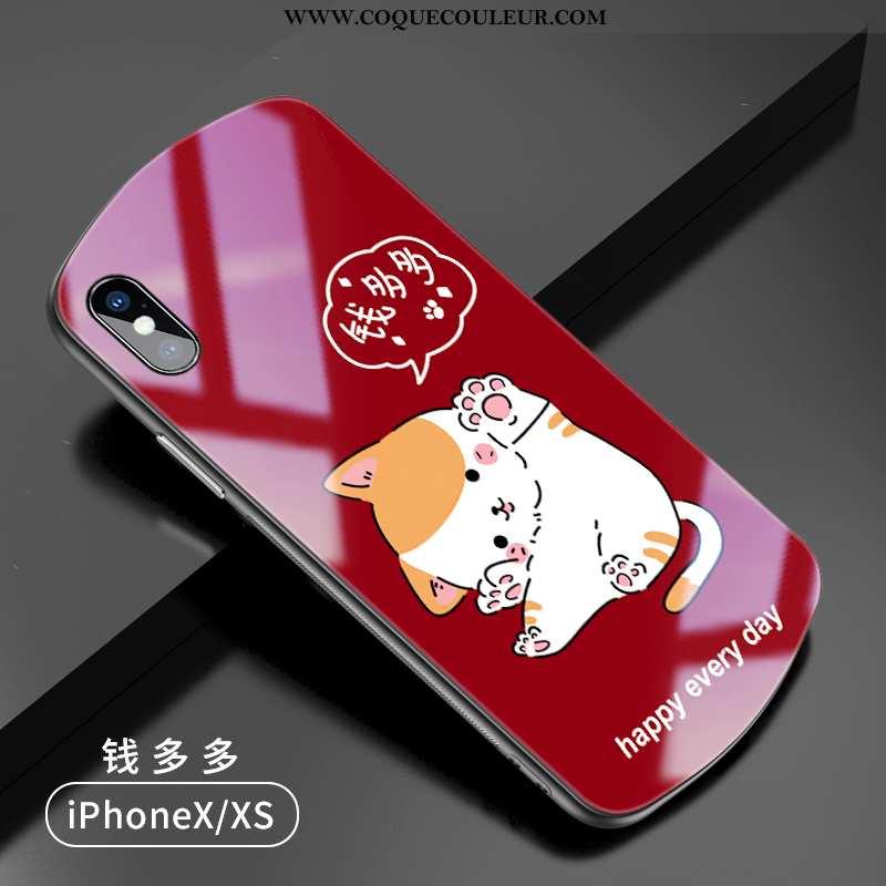 Étui iPhone X Protection Coque Étui, iPhone X Verre Net Rouge