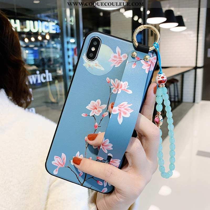 Housse iPhone X Fluide Doux Incassable Support, Étui iPhone X Silicone Petit Bleu