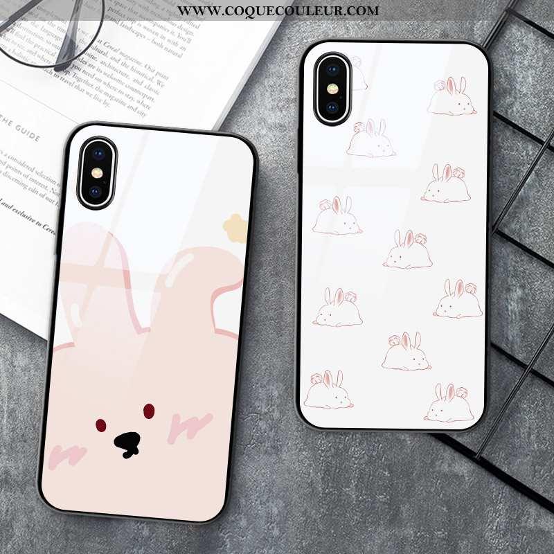 Étui iPhone X Verre Rose Coque, Coque iPhone X Dessin Animé Tout Compris Blanche